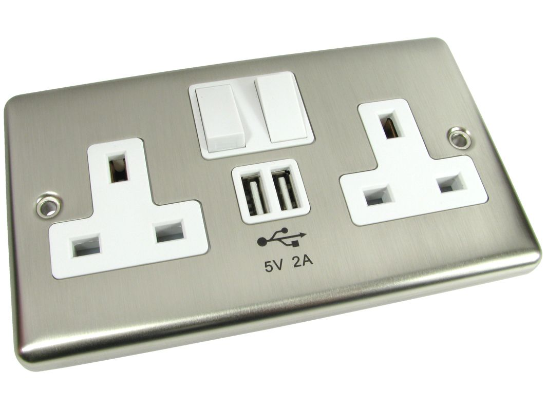 Chrome Mains Power Wall Plate 2 Gang With Usb Charging