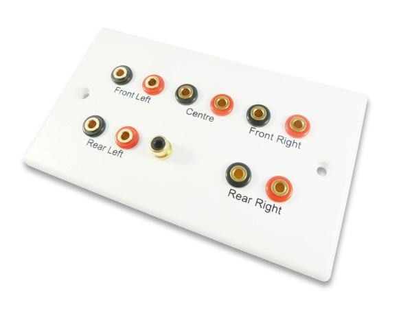 5 1 speaker cable wall plate  fits 4mm banana plugs  and