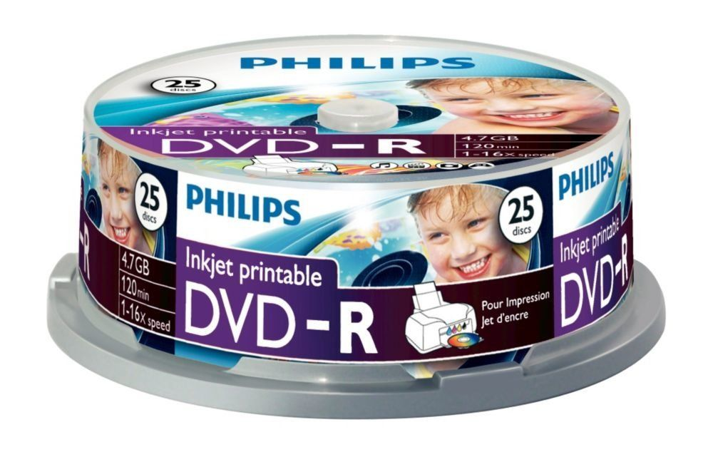 graphic relating to Printable Dvd referred to as 50 Philips DVD-R Inkjet Printable DVD - 25 Spindle x2 Blank Recordable DVD Discs