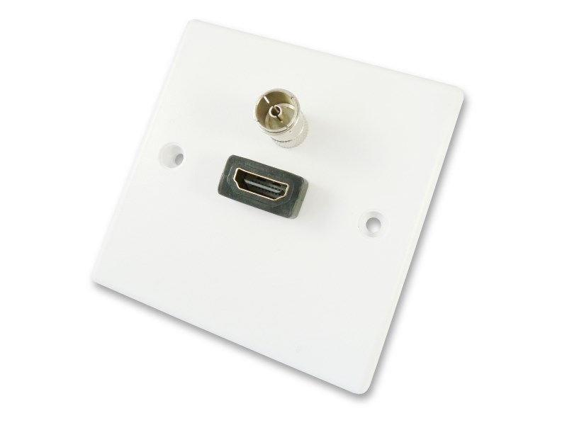 HDMI and TV Aerial Wall Plate - Quick Connect