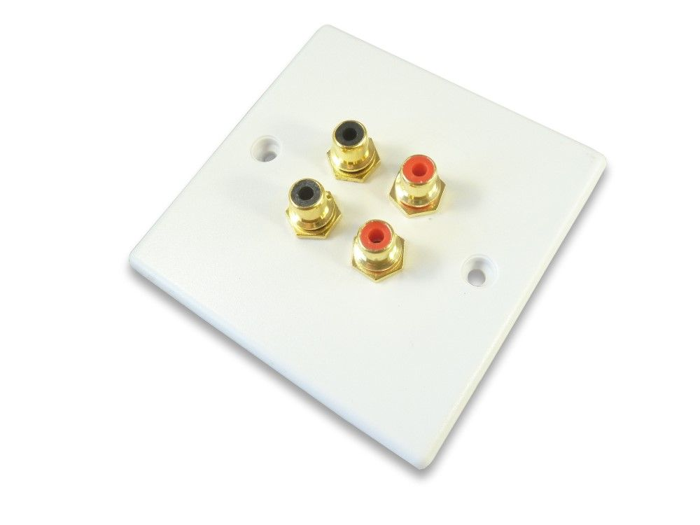 Phono Rca Wall Plate Audio Gold Plated Solder Tags On Reverse