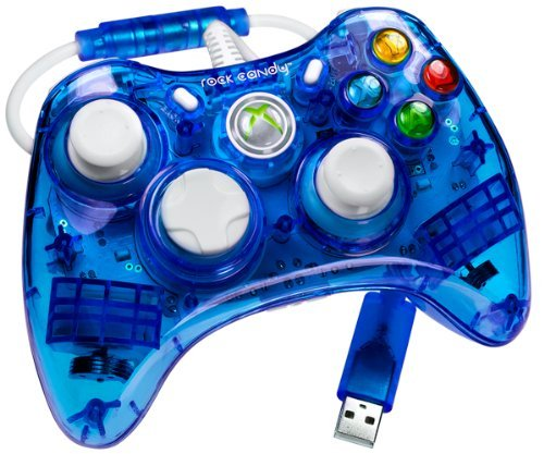 Rock Candy Blue Xbox 360 Wired Controller Neon Blue