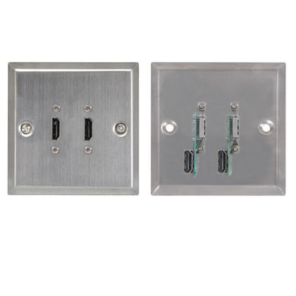 Dual Twin Steel Hdmi Socket Faceplate Cables4all