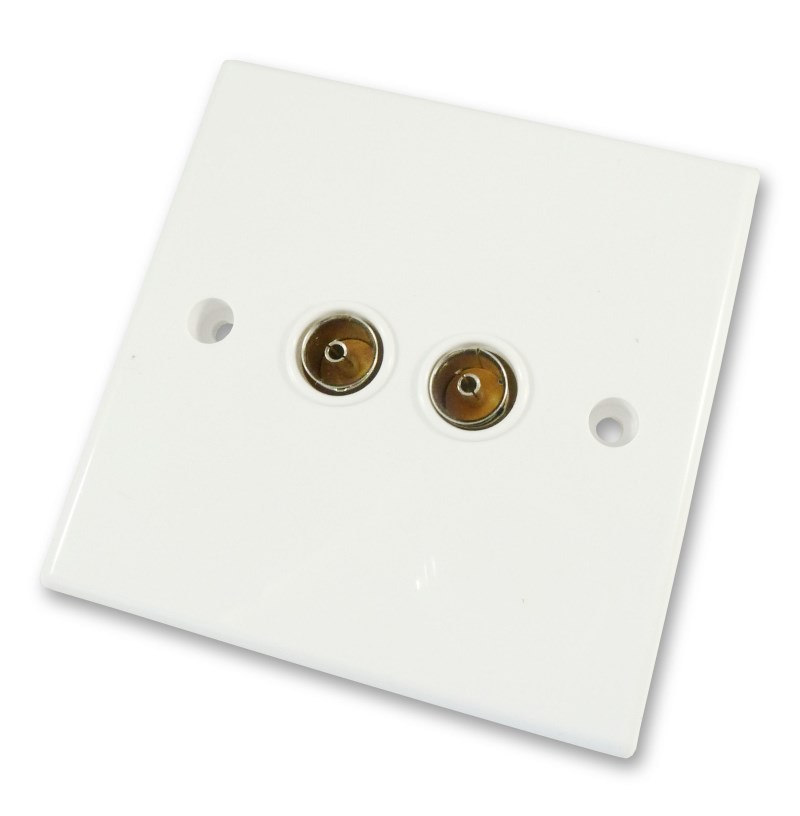 Tremendous Twin Tv Aerial Rf Coax Wall Plate Fits 2 Tv Aerial Cables Cables4All Wiring 101 Swasaxxcnl